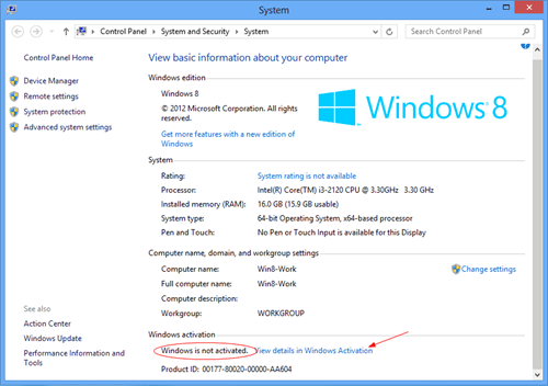 Windows 8 is not activated