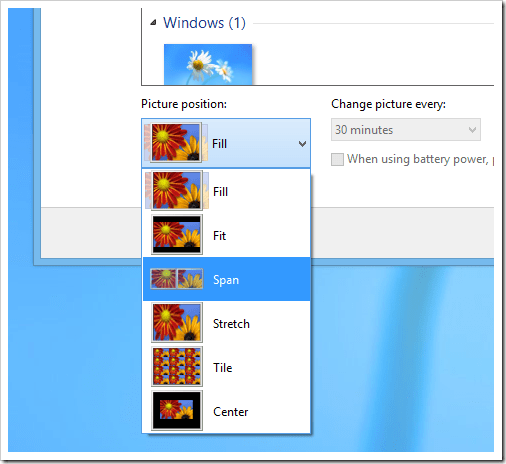 windows 8 Dual Screen - Span Wallpaper