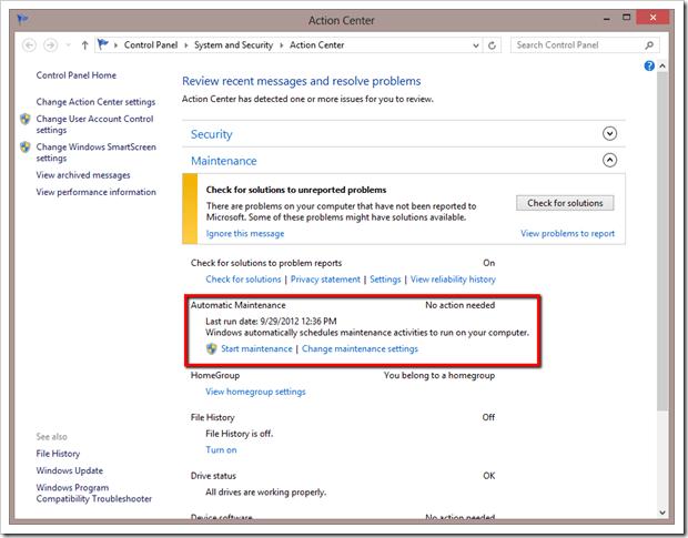 windows 8.1 maintenance in progress