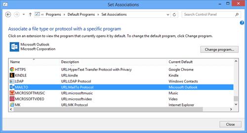 Change Default Programs - MailTo - popup - done