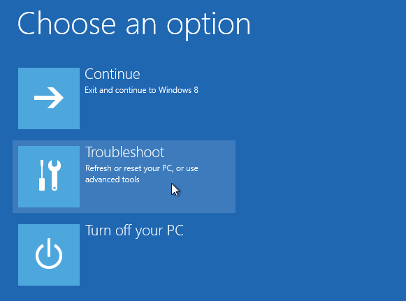 Windows 8 repair boot option