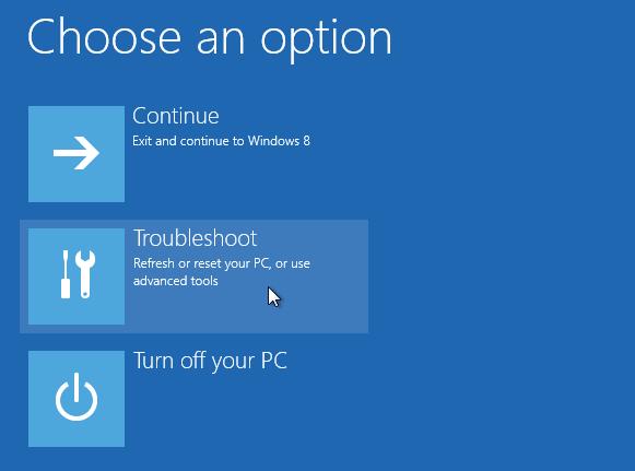 Windows 8 repair boot option