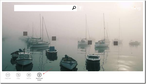Bing - Set as lock screen