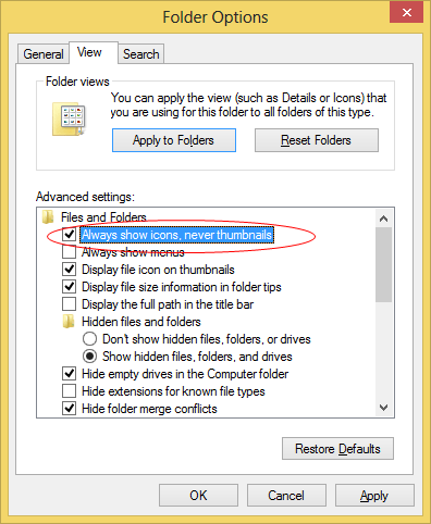 Enable Always show icons in Folder options