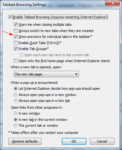 IE Tips - Tab Preview as default tab page