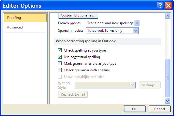 Outlook Spelling Check options - Available
