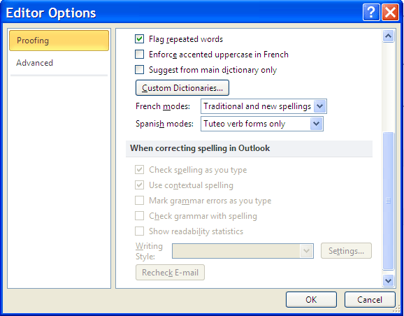 Outlook Spelling Check options