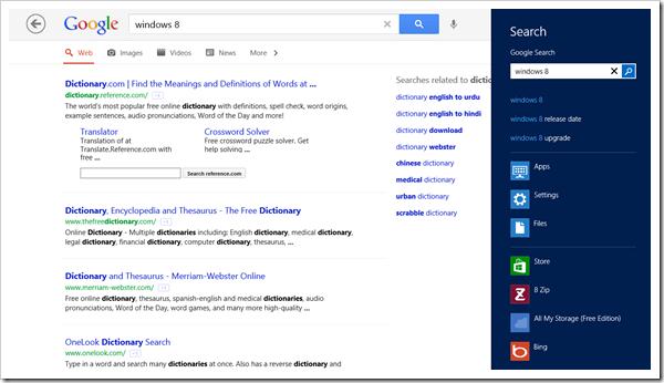 Windows 8 app - Google Search - Search Charm