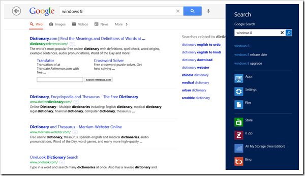 Windows 8 app - Google Search - Search Charm