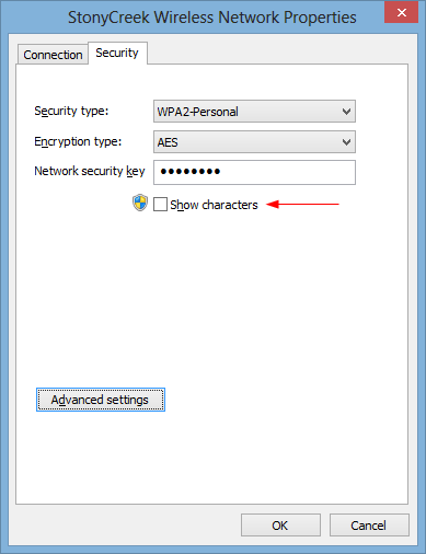 Wireless Network Properties - show characters