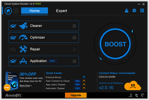 Cloud System Booster - Home tab