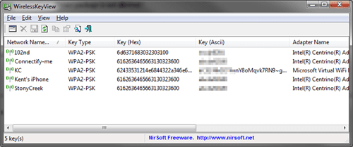 wirelesskeyview for windows 7