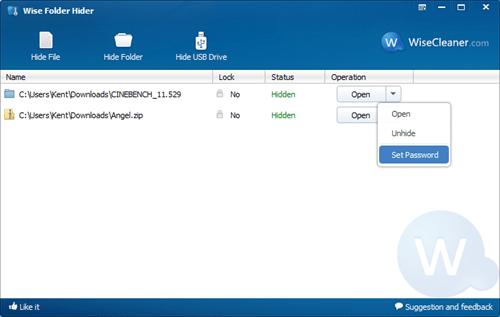 Wise Folder Hider - Operation Options