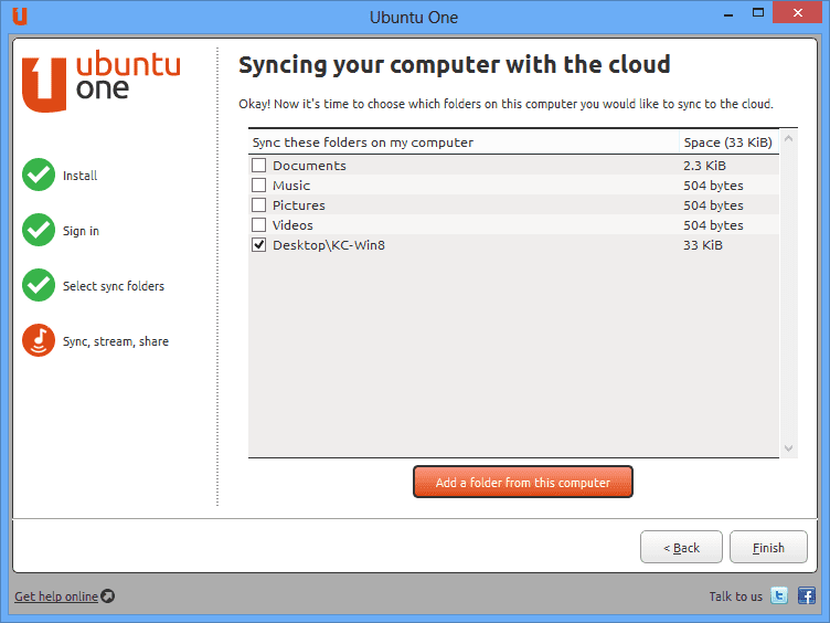 Finish setting up ubuntu One windows client