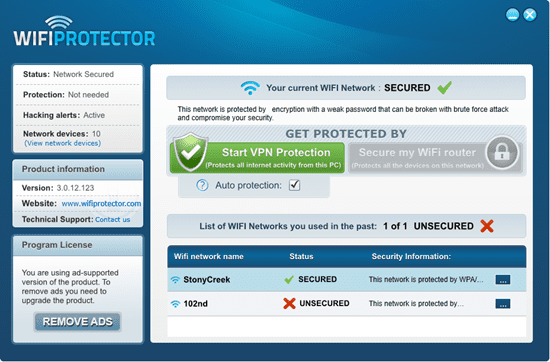 Wifi Protector - main window