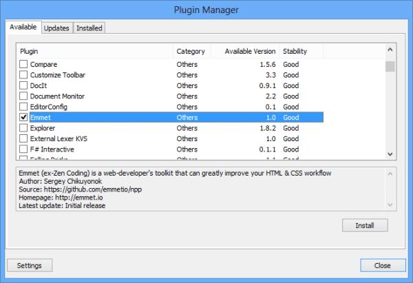 Emmet - Notepad++ install