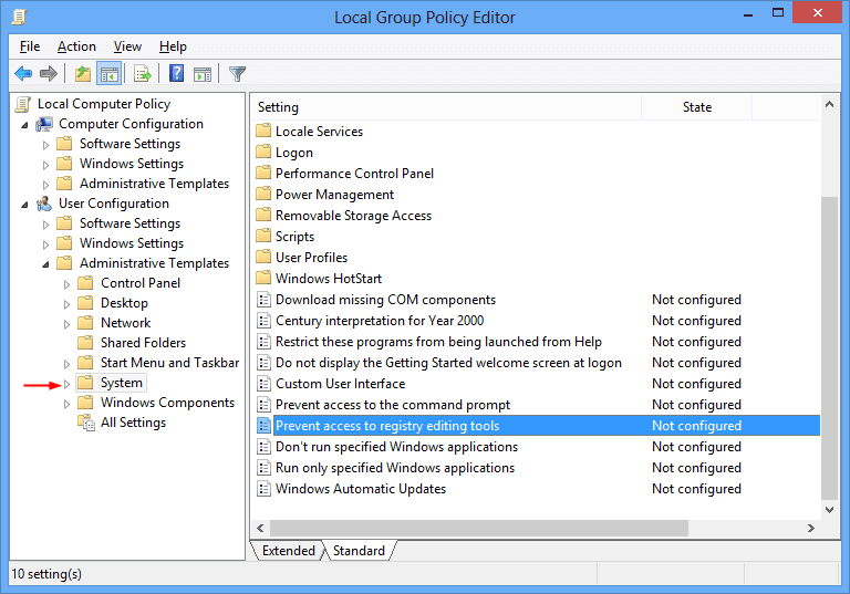 Local Group Policy Editor - Prevent Access to Registry