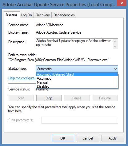 Service start up type