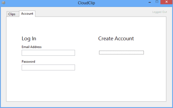 CloudClip - login window