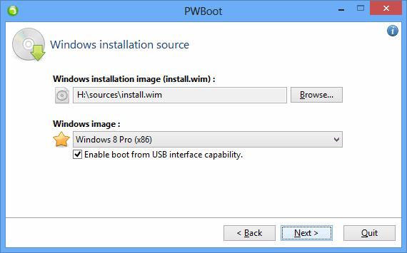 PWBoot - step 2 - select installation image