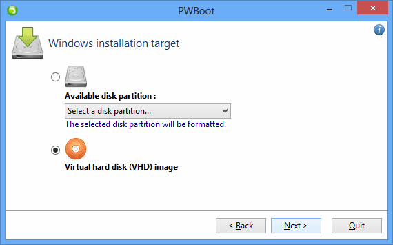 PWBoot - step 3 - select disk partition