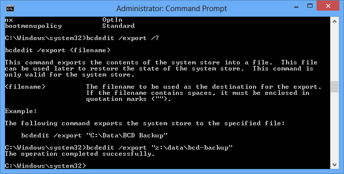 bcdedit export command
