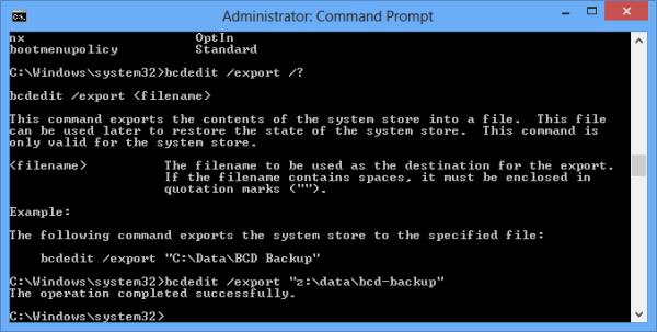 bcdedit export command