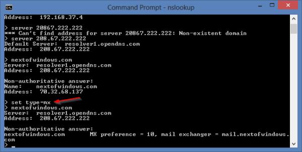 nslookup - set type mx