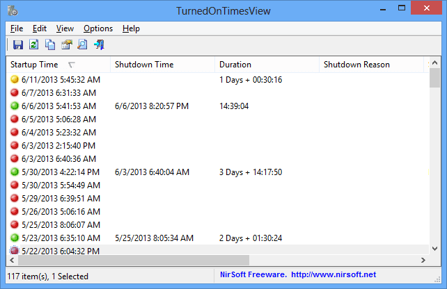 TurnedOnTimesView - main window