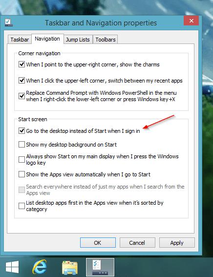 Windows 8.1 - boot to desktop option