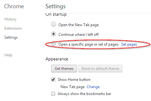 Chrome Settings page - On startup section
