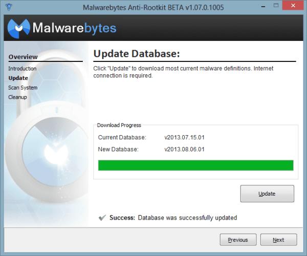 Malwarebytes Anti-Rootkit - update the database