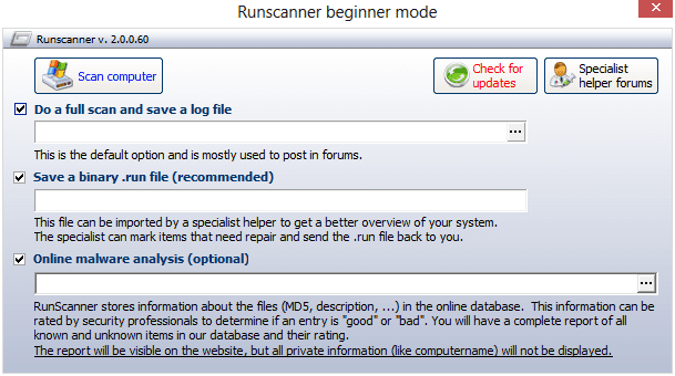 Runscanner in beginner mode