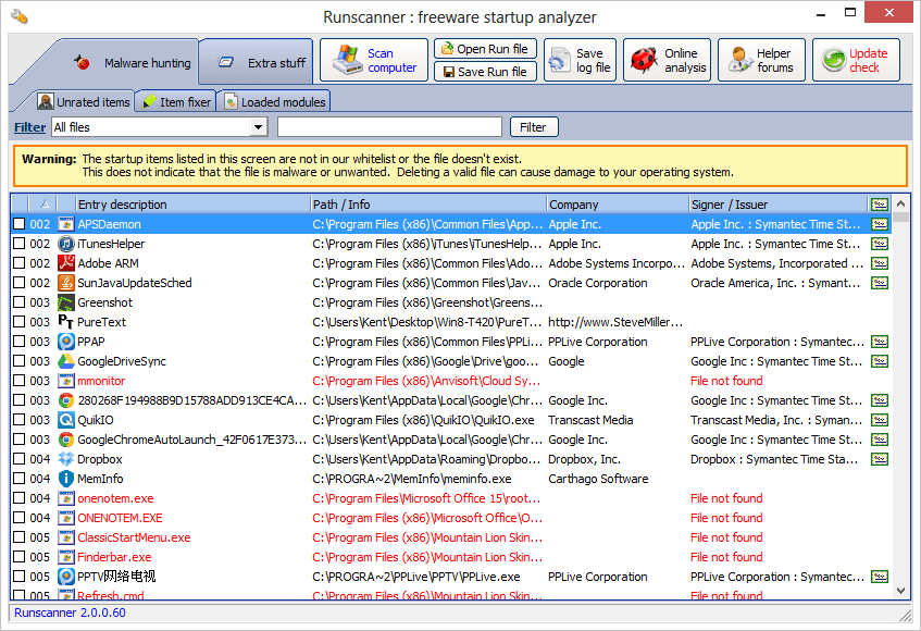 Runscanner in expert mode with malware hunter tab