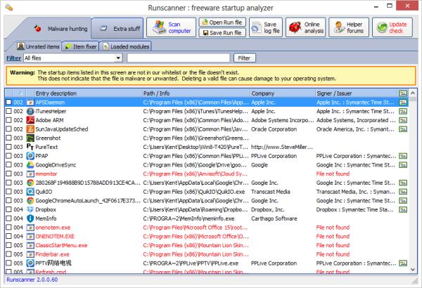Runscanner in expert mode with malware hunter tab
