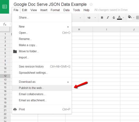 Google Spreadsheet Publish To Web