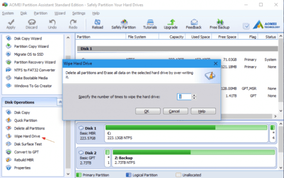 AOMEI Partition Assistant - wipe hard drive