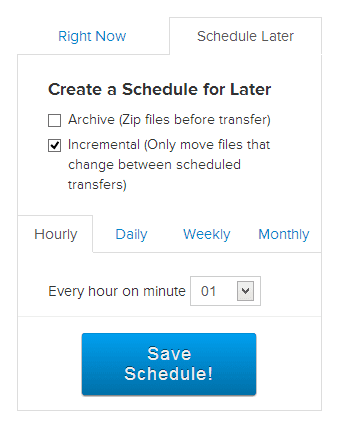 Mover - create a schedule for later