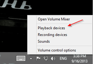 Opening Sound Playback properties from system tray