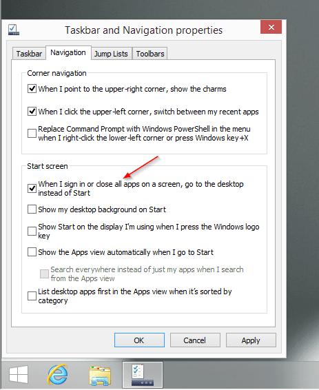 Windows 8.1 - option to back to desktop