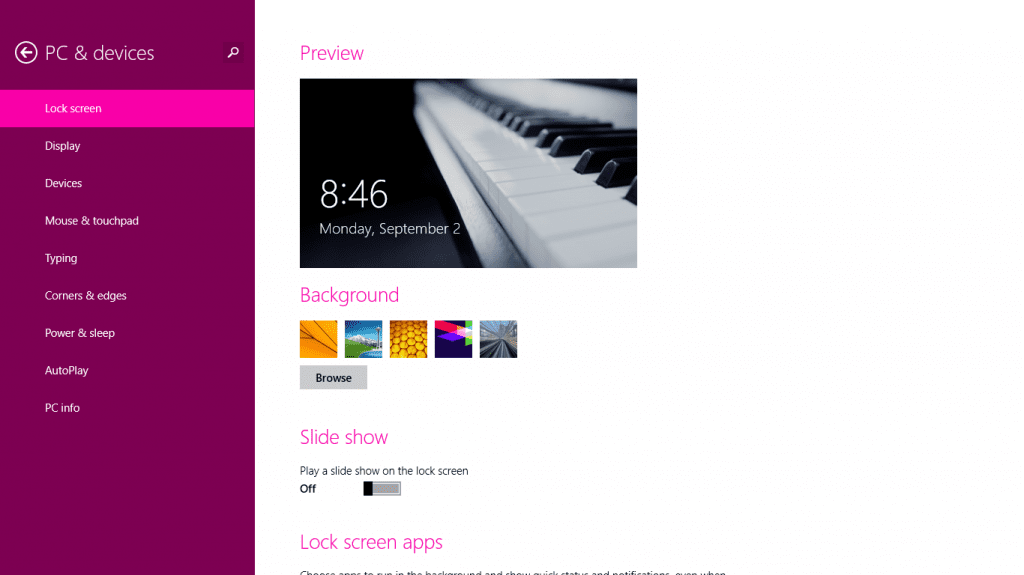 Windows 8. Lock Screen Settings