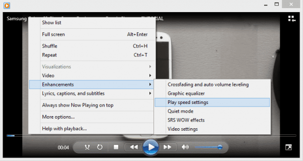 Windows Media Player - play speed