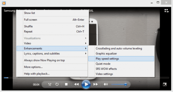 Windows Media Player -Player Speed Setting
