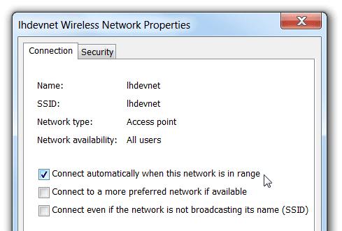 uncheck auto connect