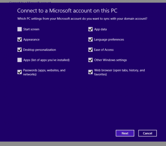 Connect to a Microsoft Account - sync options