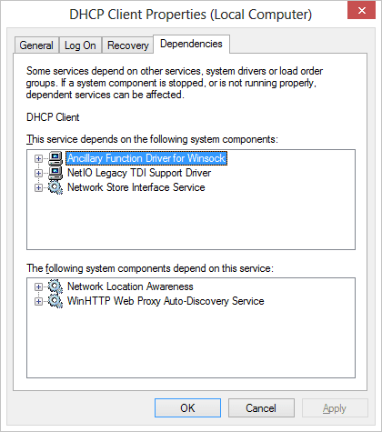 Dependent services to DHCP Client service
