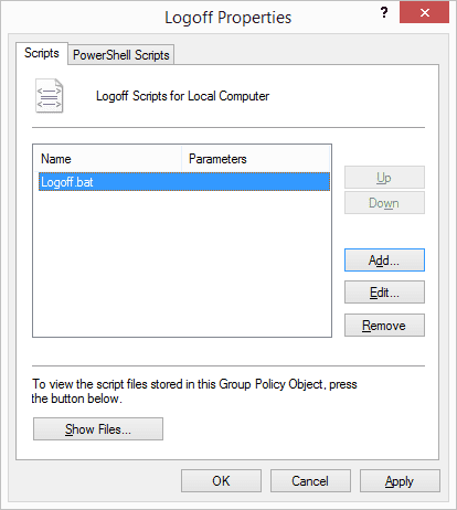 Group Policy - Logoff Properties