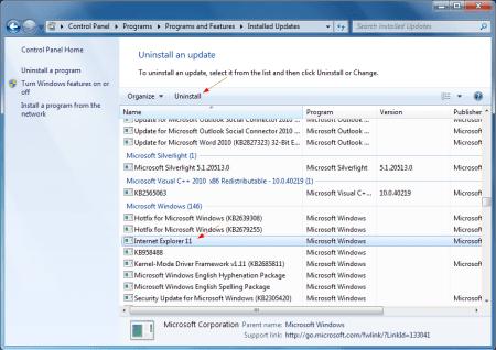 Internet Explorer 11 in Control Panel