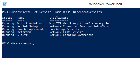 Get dependent services to DHCP Client service