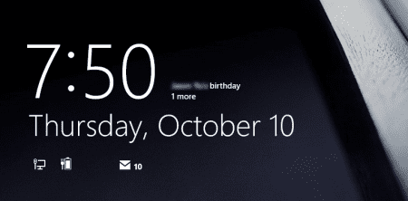 Windows 8.1 Lock Screen with Birthday Reminder